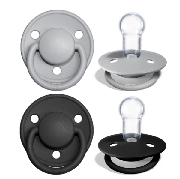 Cloud & Black Silicone - Bibs de Lux (0-36m)